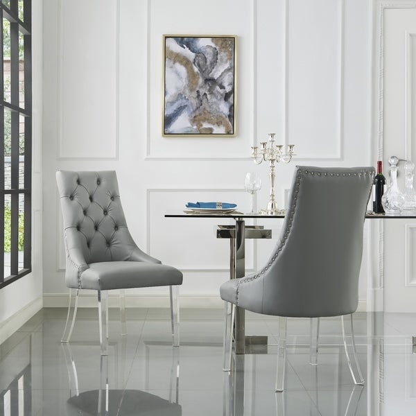 judy button tufted armless dining chair set of 2 free shipping