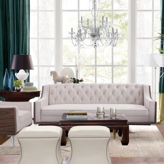Inspired Home Holly Velvet  Button Tufted Sloped Arm with Walnut Finish and Silvertone Chrome Y-leg Sofa