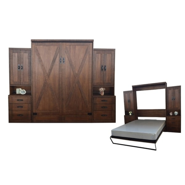 Queen Factory Murphy Bed With Two Pier Cabinets In Reclaimed Brown Finish