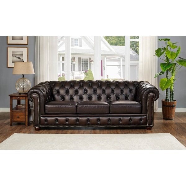 Marvelous Hydeline By Amax Albany Top Grain Leather Sofa