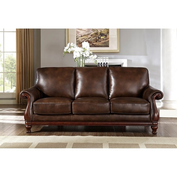 Hydeline By Amax Princeton Top Grain Leather Sofa