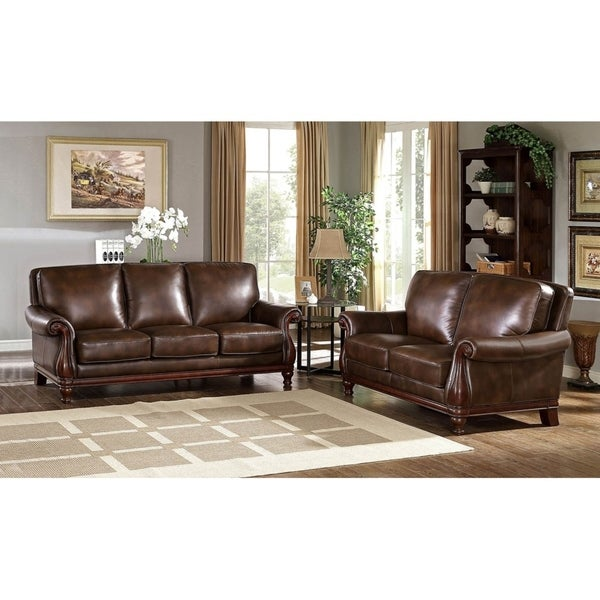 Hydeline By Amax Princeton Top Grain Leather Sofa And Loveseat Set