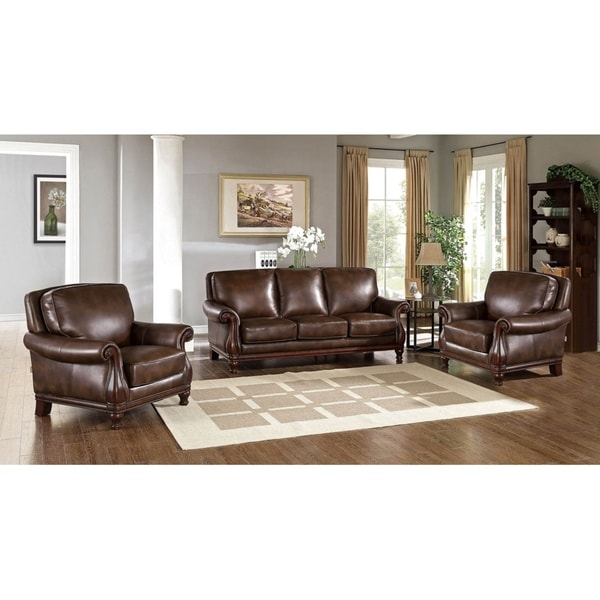 Hydeline By Amax Princeton Top Grain Leather Sofa And Two Armchairs Set