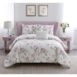 Wonder Home Flores 5PC Cotton Printed Comforter Set, Queen,Pink