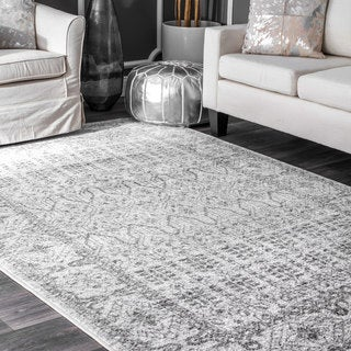 nuLoom Grey/Off-white Fading Vine Bordered Area Rug (8'2 x 11'6)