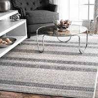 nuLoom Vintage Grey Geometric Solid Stripes and Blocks Rug