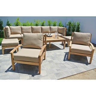 """10pc Huntington Teak Outdoor Patio Furniture Seating Group with 42""""x72"""" Chat Table."""