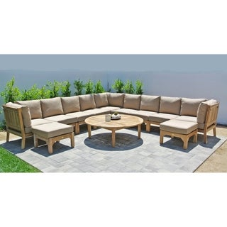 "12pc Huntington Teak Outdoor Patio Furniture Sectional Seating Group with 52"" Chat Table."