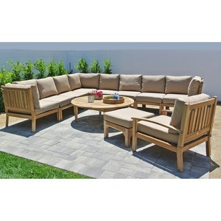 "11pc Huntington Teak Outdoor Patio Furniture Sectional Seating Group with 52"" Chat Table."