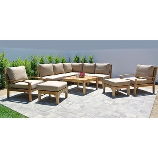 Huntington Teak 10-piece Outdoor Patio Furniture Sectional Seating Group with 36-inch Square Chat Table