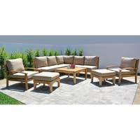 "10pc Huntington Teak Outdoor Patio Furniture Sectional Seating Group with 36"" Square Chat Table."