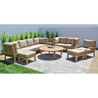 Huntington Teak 11-piece Outdoor Patio Furniture Deep Seating Set with 52-inch Chat Table