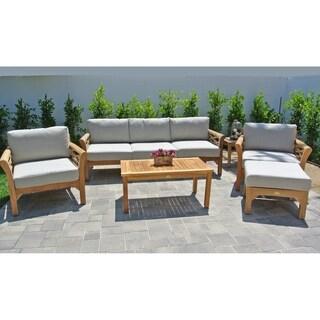 6 pc Monterey Teak Outdoor Patio Furniture Deep Seating Set.