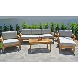 Bon 6 Pc Monterey Teak Outdoor Patio Furniture Deep Seating Set.