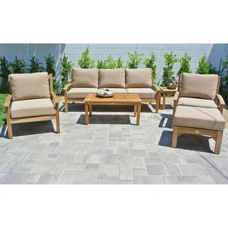 6 pc Huntington Teak Outdoor Patio Furniture Deep Seating Set.