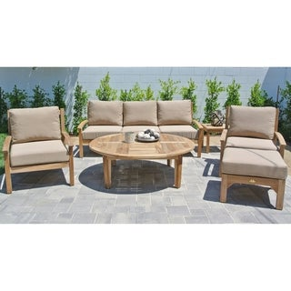 "6pc Huntington Teak Outdoor Patio Furniture Deep Seating Group with 52"" Chat table. (2 options available)"
