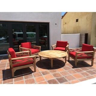"""5 pc Monterey Teak Outdoor Patio Furniture Deep Seating Set with 52"""" Chat Table."""