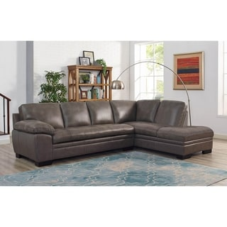 Hydeline by Amax Melford Grey Top-grain Leather/Wood Sectional Sofa with Storage  sc 1 st  Overstock.com : grey couch sectional - Sectionals, Sofas & Couches