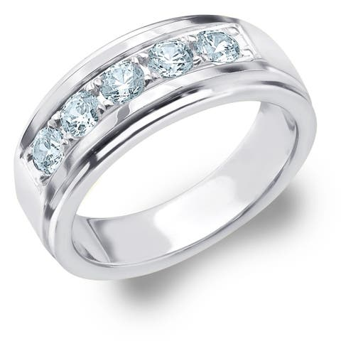 Amore 5 Stone 1.0 CT Diamond Men's Ring in 10K White Gold
