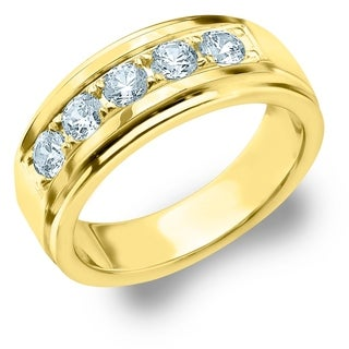 Amore 5 Stone 1.0 CT Diamond Men's Ring in 14K Yellow Gold