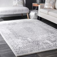 nuLoom Traditional Vintage Distressed Medallion Elaborate Border Grey Rug - 7'6 x 9'6