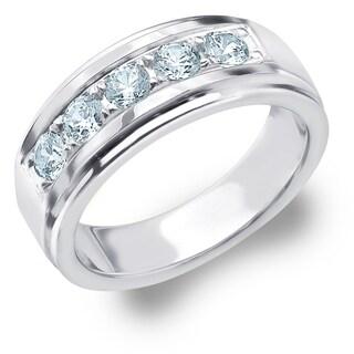 Amore 5 Stone 1.0 CT Diamond Men's Ring in 18K White Gold