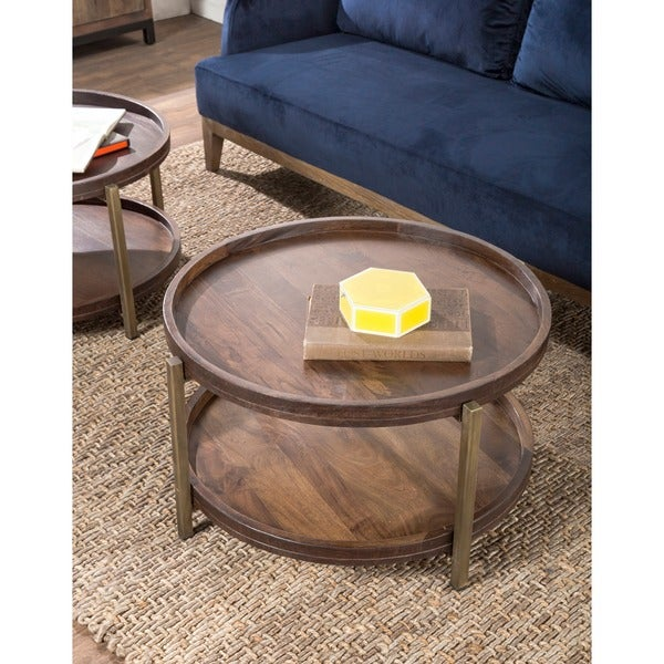 Milo Brown Solid Wood 30 Quot Round Coffee Table By Kosas Home