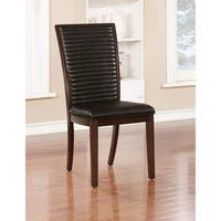 """Furniture of America Gileon Transitional Ribbed Walnut Dining Chair (Set of 2) - 18""""W X 22""""D X 40""""H"""
