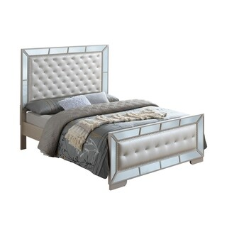 Lyke Home Wryn Off-white Glass/Wood/Polypropylene Mirrored Accent Bed