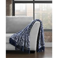 Soft Plush Damask Printed Throw with Fringe