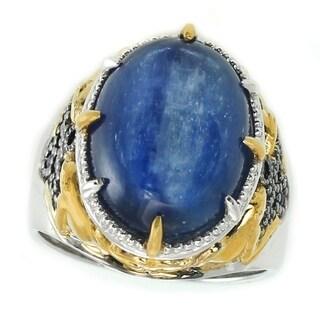 Michael Valitutti Palladium Silver Oval Kyanite & Blue Sapphire Ring