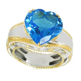 Michael Valitutti Palladium Silver Heart Shaped Super Swiss Blue Topaz Ring