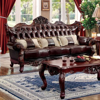Furniture of America Luxenburg Traditional Tufted Top Grain Leather Match Dark Oak Sofa