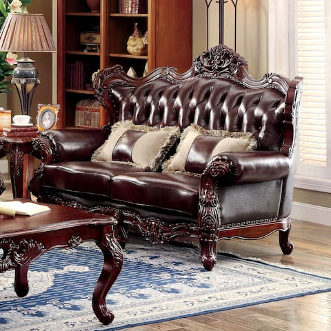Furniture of America Vane Traditional Oak Faux Leather Tufted Loveseat
