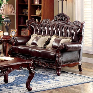 Furniture of America Luxenburg Traditional Tufted Top Grain Leather Match Dark Oak Loveseat