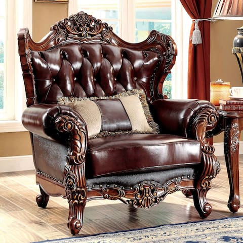 Furniture of America Vane Traditional Oak Faux Leather Tufted Armchair
