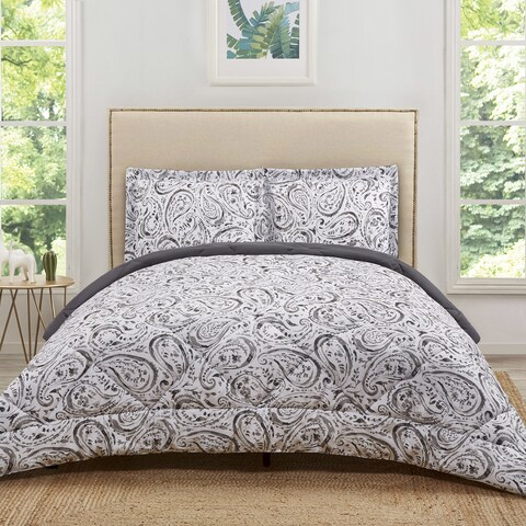 Truly Soft Watercolor Paisley Printed 3-Piece Microfiber Comforter Set