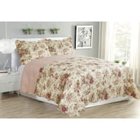 Suzy Pink Floral Cotton Blend 3-Piece Quilt set