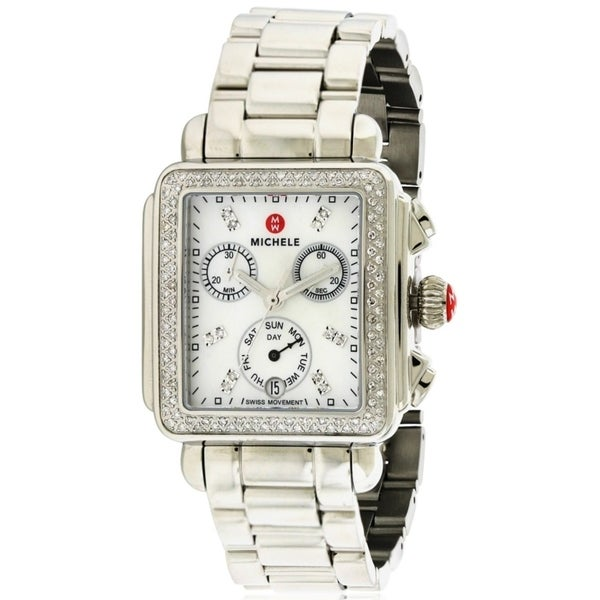 4cfbfb5d1 Shop Michele Signature Deco Diamond Ladies Watch - Free Shipping Today -  Overstock - 17698234