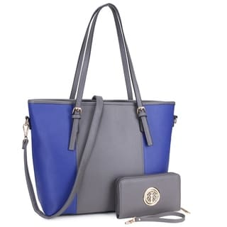 Dasein Large Classic Two-Tone Tote Bag with Matching Wallet