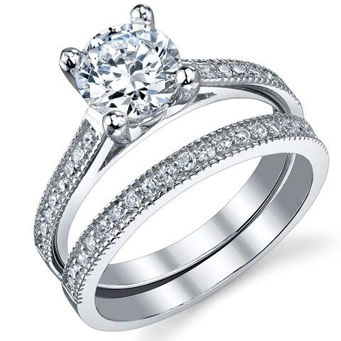Oliveti Women's Sterling Silver Round Brilliant Cubic Zirconia Bridal Set Engagement Rings - Clear