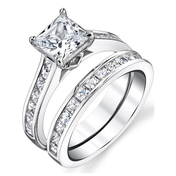 Oliveti Sterling Silver Princess Cut Engagement Ring Bridal Set with Cubic Zirconia - Clear