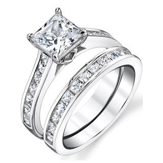 Oliveti Sterling Silver Princess Cut Engagement Ring Bridal Set with Cubic Zirconia - Clear|https://ak1.ostkcdn.com/images/products/17698242/P23904688.jpg?impolicy=medium