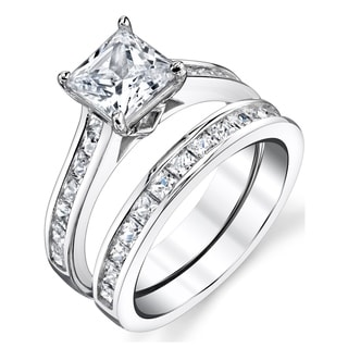 Ordinaire Oliveti Sterling Silver Princess Cut Engagement Ring Bridal Set With Cubic  Zirconia   Clear