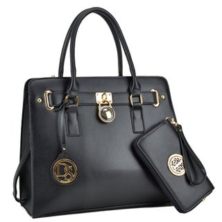 Dasein Large Saffiano Leather Padlock Satchel Handbag with Matching Wallet (2 options available)