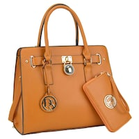 a124e87ca79b Dasein Large Faux Saffiano Leather Padlock Satchel w/ Matching Wallet