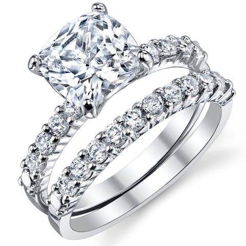 Oliveti Women's Sterling Silver and Cushion-Cut Cubic Zirconia Bridal set Wedding Rings - Clear
