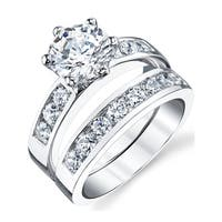 Oliveti Sterling Silver 2.00 Carat Engagement Ring Wedding Band Bridal Set With Cubic Zirconia - Clear