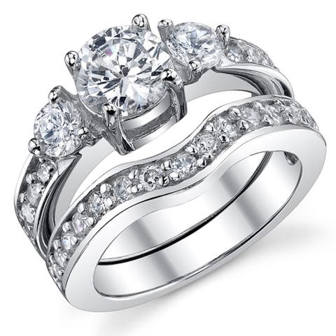 Oliveti Women's Sterling Silver Round Brilliant Cubic Zirconia Bridal Set Engagement Rings