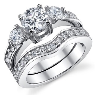 Oliveti Women's Sterling Silver Round Brilliant Cubic Zirconia Bridal Set Engagement Rings - Clear (Option: 5)